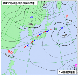 9月9日(日)9時の予想天気図