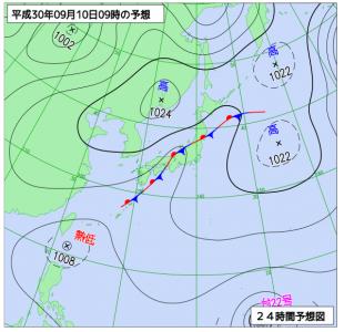 9月10日(月)9時の予想天気図