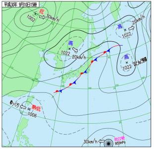 9月10日(月)15時の実況天気図