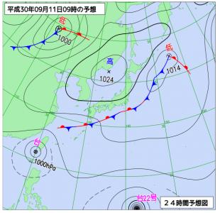 9月11日(火)9時の予想天気図
