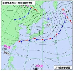 9月12日(水)9時の予想天気図