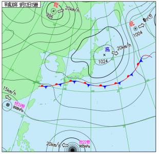 9月12日(水)15時の実況天気図