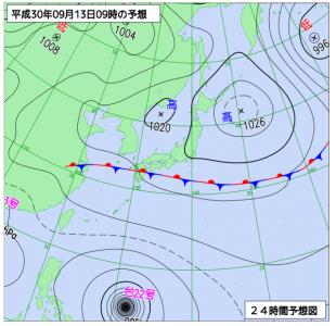 9月13日(木)9時の予想天気図
