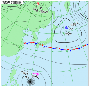 9月13日(木)15時の実況天気図