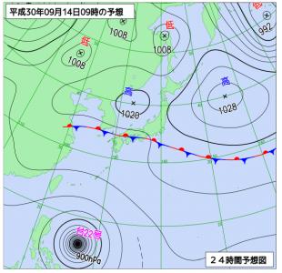 9月14日(金)9時の予想天気図