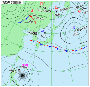 9月14日(金)15時の実況天気図