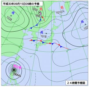 9月15日(土)9時の予想天気図