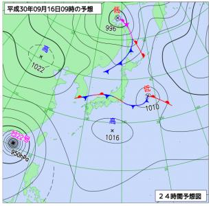 9月16日(日)9時の予想天気図