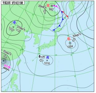 9月16日(日)15時の実況天気図