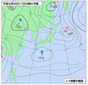 9月17日(月祝)9時の予想天気図