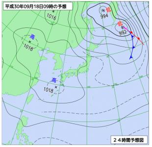 9月18日(火)9時の予想天気図