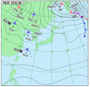 9月18日(火)15時の実況天気図