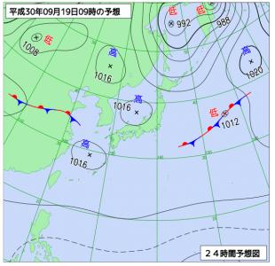 9月19日(水)9時の予想天気図