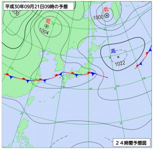 9月21日(金)9時の予想天気図