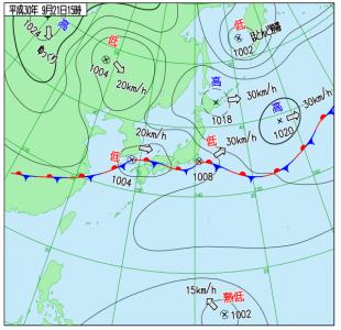 9月21日(金)15時の実況天気図