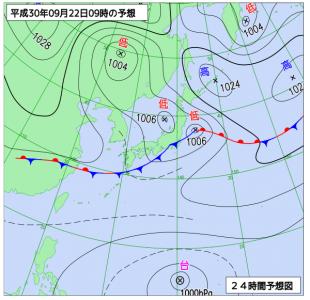 9月22日(土)9時の予想天気図