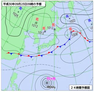9月23日(日祝)9時の予想天気図