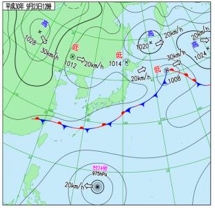 9月23日(日祝)15時の実況天気図
