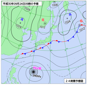 9月24日(月振)9時の予想天気図