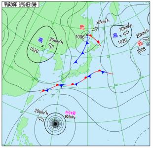 9月24日(月振)15時の実況天気図