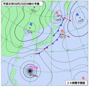 9月25日(火)9時の予想天気図