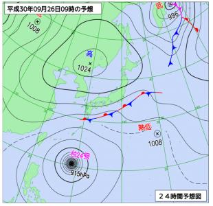 9月26日(水)9時の予想天気図