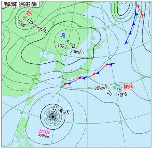 9月26日(水)15時の実況天気図