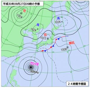 9月27日(木)9時の予想天気図