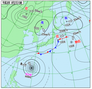 9月27日(木)15時の実況天気図
