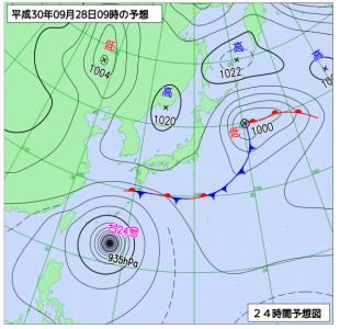9月28日(金)9時の予想天気図