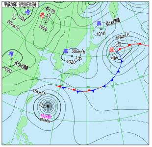 9月28日(金)15時の実況天気図
