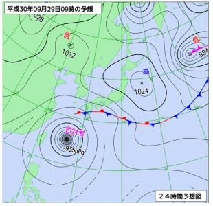 9月29日(土)9時の予想天気図
