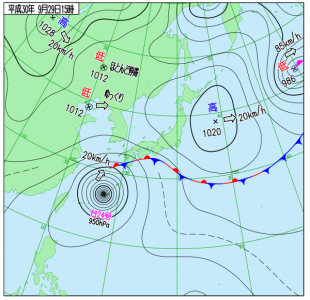 9月19日(土)15時の実況天気図