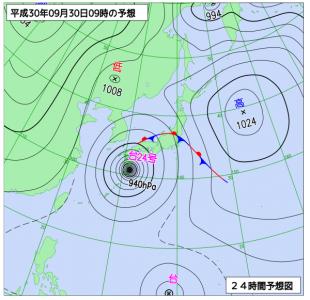 9月30日(日)9時の予想天気図