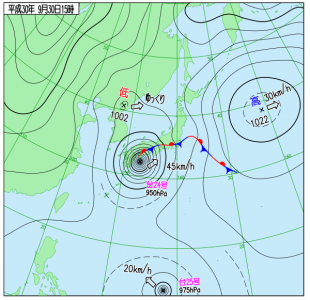 9月30日(日)15時の実況天気図