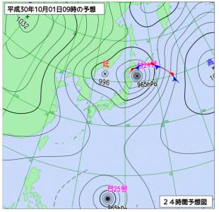 10月1日(月)9時の予想天気図