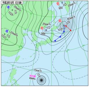 10月1日(月)15時の実況天気図