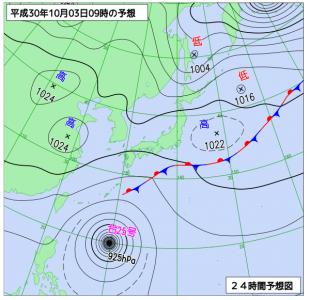 10月3日(水)9時の予想天気図