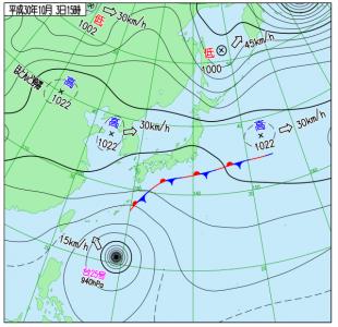10月3日(水)15時の実況天気図