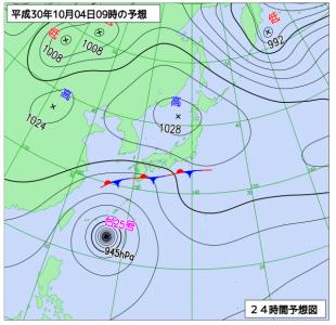 10月4日(木)9時の予想天気図
