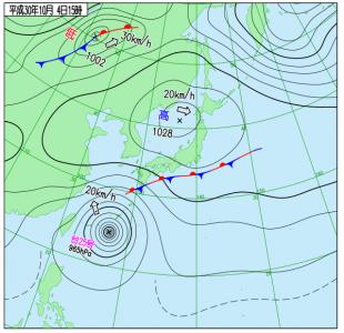 10月4日(木)15時の実況天気図