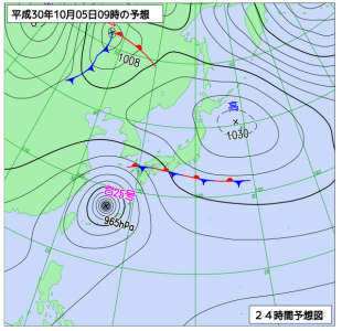 10月5日(金)9時の予想天気図