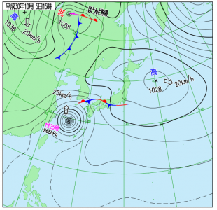 10月5日(金)15時の実況天気図