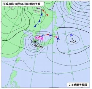 10月6日(土)9時の予想天気図