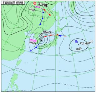 10月6日(土)15時の実況天気図