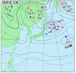 10月7日(日)15時の実況天気図