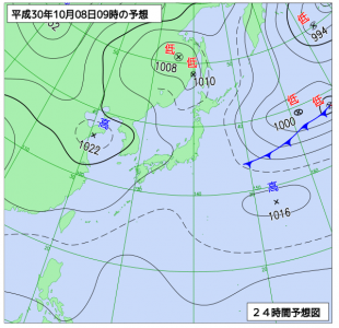 10月8日(月祝)9時の予想天気図