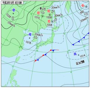 10月8日(月祝)15時の実況天気図