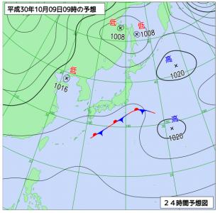 10月9日(火)9時の予想天気図