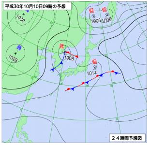 10月10日(水)9時の予想天気図